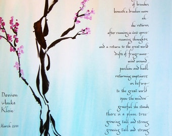 Special Occasion Painting with Calligraphy - Plum Blossoms - Sumi Ink and gouache on acrylic ink wash background