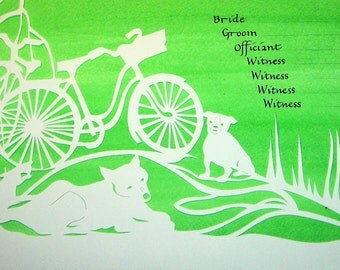 Palm Tree and Bike Trip Wedding Certificate - handcut papercut with calligraphy and watercolor background painting