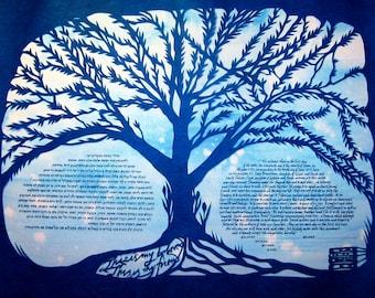 Hackberry Tree Papercut Artwork Ketubah - silhouette blue on blue