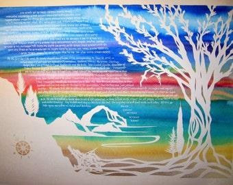 Pacific Northwest Papercut Ketubah Wedding Artwork