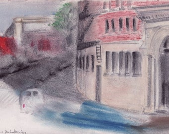 Ft George and Audubon - Northern Manhattan pastel drawing - print of original pastel and pencil drawing - 8 x 10 inches