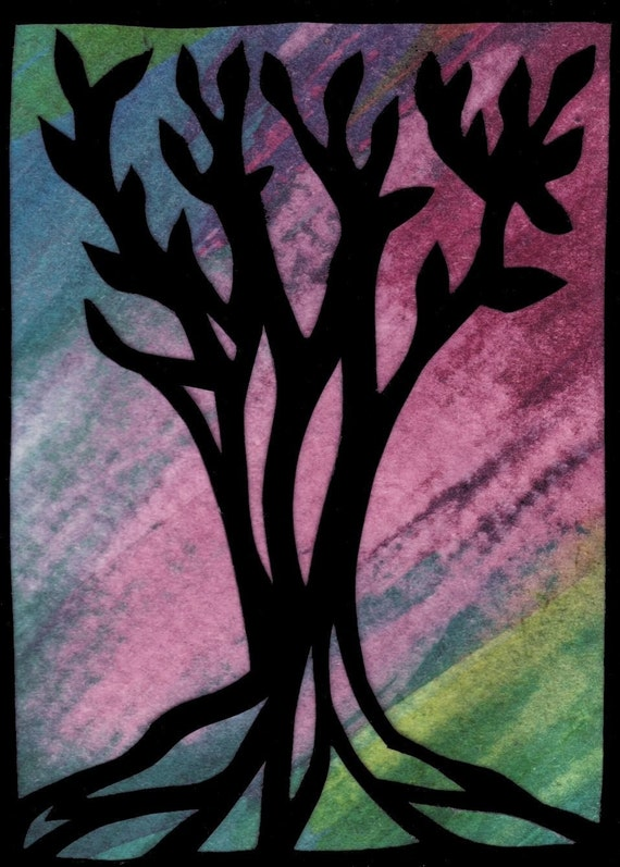 ACEO - Sunset Tree