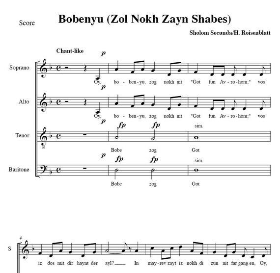 PIF - Bobenyu - Grandmother - Yiddish choral arrangement - sheet music PDF file