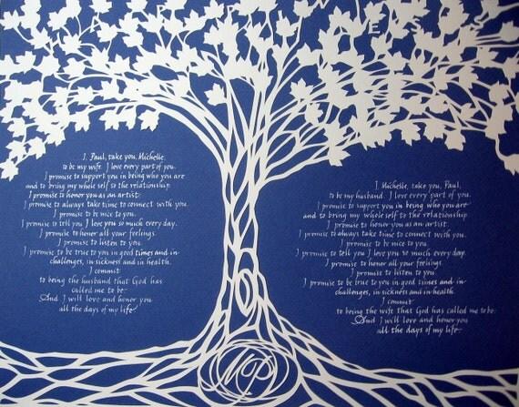 Happiness Tree - 11x14 inch Medium sized Papercut Artwork - Anniversary Wedding Gift Commemoration