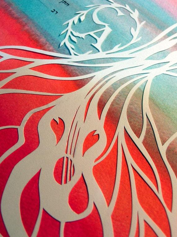 Ketubah - Morning Breezes Guitar Tree Ketuba - Papercut Artwork
