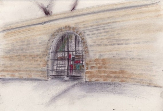 Chinatown Park Wall - Seward Park Extension - Brick texture and color - print of original pastel drawing - 8x10 inches