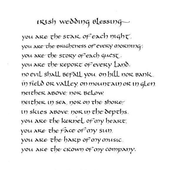 Irish Wedding Blessing Original Calligraphy Art 8x10 By Jerise