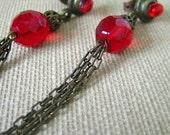 earrings red bronze chain tassle