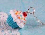 Turquoise Blue Lampwork Sprinkle Cupcake Pendant