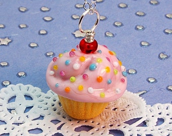 Pink and Yellow Sprinkle Lampwork Cupcake Pendant
