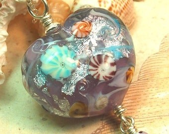 Lavender Oceana Heart Starfish Pearl Lampwork Pendant