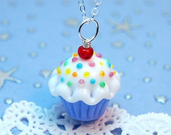 Blue and White Sprinkle Lampwork Cupcake Pendant