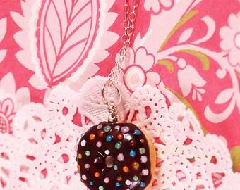 Tasty Chocolate Sprinkles Donut Lampwork Pendant