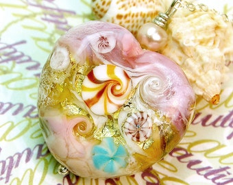 Pink Oceana Heart Lampwork Pendant