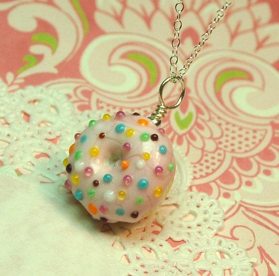 Tasty Pink Sprinkles Donut Lampwork Pendant