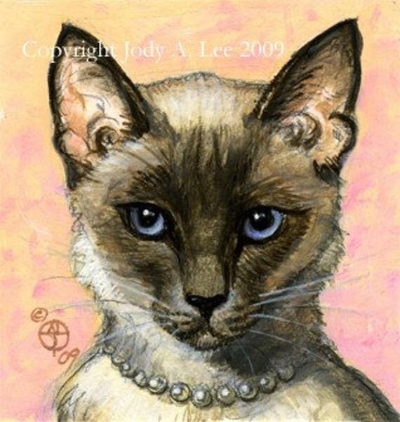Balinese Cat Original Oil Painting