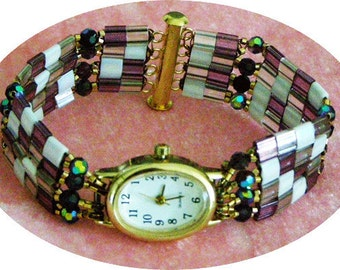 Beaded Watch, Tila Beads, seahorsemagic, LindaLaverty, oceanteam