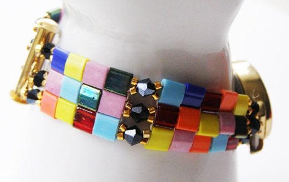 Watch, Beaded Watchband, Handcrafted, Tila beaded, Oceanteam, Accessory