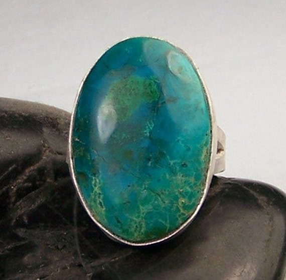 Chrysacolla Sterling Silver Ring Size 8.75 Reserved for emlaff22's
