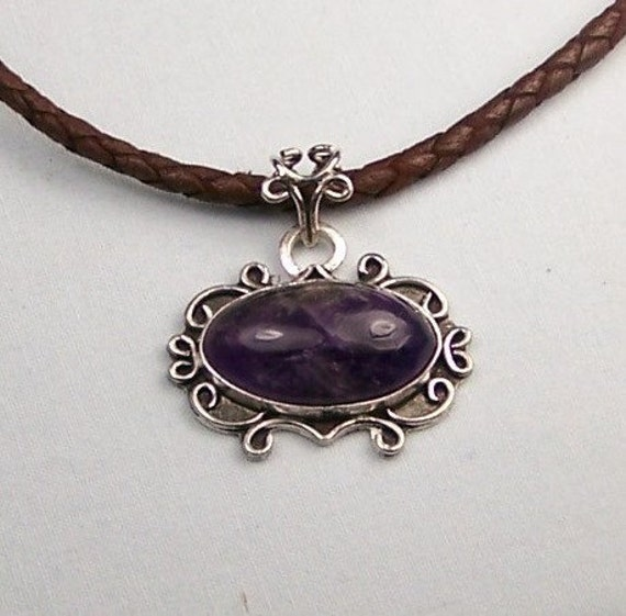 Amethyst Sterling Silver Pendant Leather Necklace  Free US Shipping