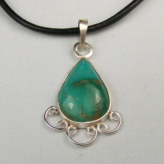 Turquoise Sterling Silver Leather Necklace Pendant  Free US Shipping