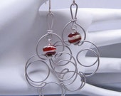Quatrefoil Chandelier Earrings - Silver with Lampwork Glass - Rustic Red on Sterling Silver (E-368)