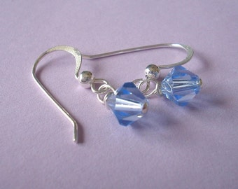 Dainty Earrings - Swarovski Crystal and Sterling Silver - Light Sapphire (E-100)