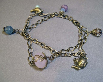 Charm Bracelet - Bird and Teapot on Brass (B-46)