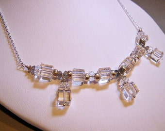SALE - Bridal Bib Necklace - Crystal Cube, Labradorite, and Sterling Silver (N-72)