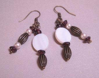 SALE - Garnets, Pearls, and Brass Earrings (E-277)