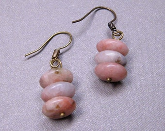 SALE - Pink Lepidolite Earrings on Brass (E-308)