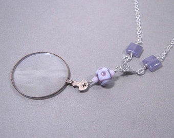 SALE - The Cranford Monocle Necklace - Amethysts and Handmade Lampwork on Sterling Silver (CN-30)