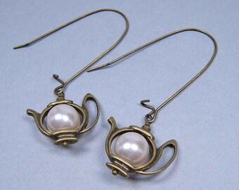 Teapot Earrings - Antique Brass and Swarovski Pearl on Kidney Ear Wires (E-390)