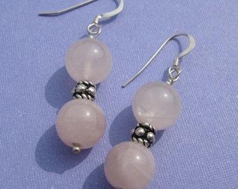 SALE - Rose Quartz Earrings (E-153)