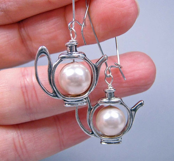 Teapot Earrings - Pewter Teapots and Swarovski Pearl on Kidney Ear Wires (E-399)