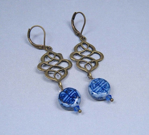 Brass Swirls and Chinese Porcelain Coins Earrings - Antique Brass Leverbacks (E-391)