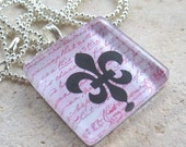 Vintage Inspired Light Pink Fleur De Lis Square Glass Pendant with Ball Chain