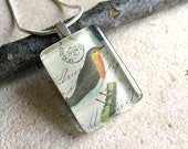 Vintage Inspired Bird on Post Card- Small Rectangle Glass Pendant with Silver Plated Chain