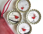 Folk Inspired Red Birds on Vintage Sheet Music- Bottlecap Magnets with Organza Bag- Etsy Artist Collaboration with DeadpanAlley