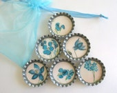 Blue Forget-Me-Not Flowers- Bottlecap Magnets with Blue Organza Bag- Set of 6