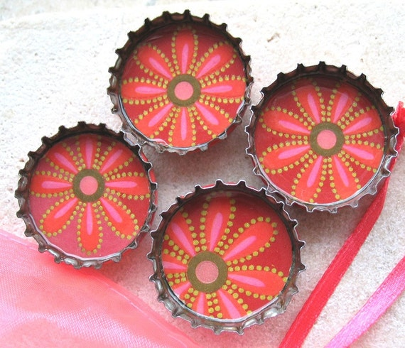 Pink and Red Henna Inspired Flowers- Up-Cycled Bottlecap Magnets with Pink Organza Bag- Set of 4- Recycled and Eco-Friendly