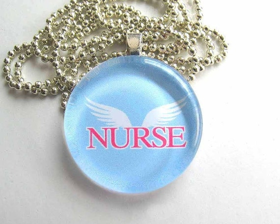 Nurse with Angel Wings- Round Glass Pendant with Silver Plated Ball Chain