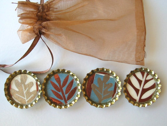 Autumn Leaves- Bottlecap Magnets- Copper, Gold, Cream and Blue- with Bronze Organza Bag