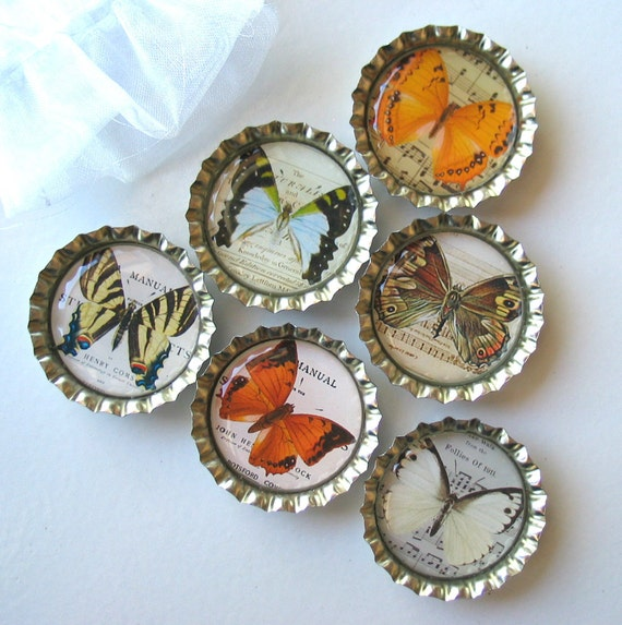 Vintage Looking Musical Butterflies- Bottlecap Magnets with White Organza Bag- Set of 6