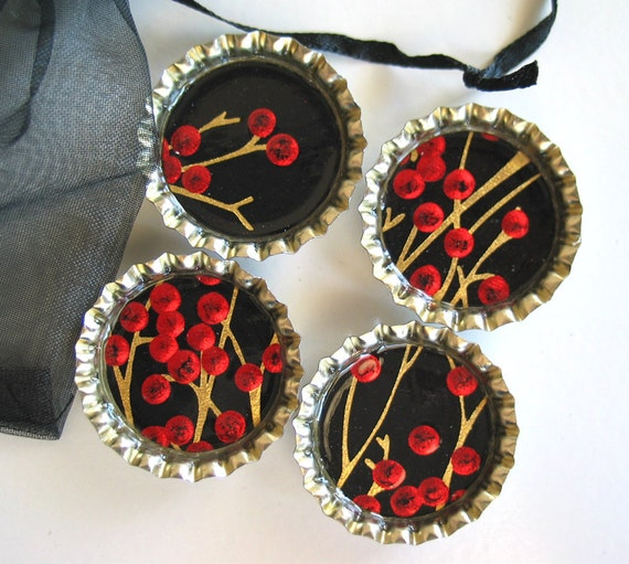 Red Berries on Gold Tree Branches- Bottlecap Magnets with Black Organza Bag- Set of 4