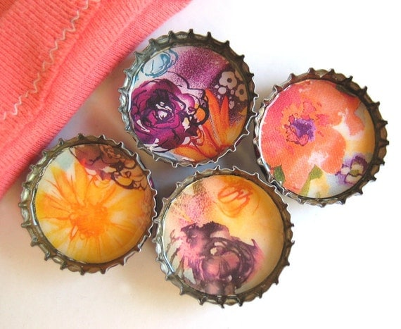 Painted Colorful Flowers- Up-Cycled Bottlecap Magnets with Hand-Sewn Gift Pouch- Set of 4- Recycled and Eco-friendly