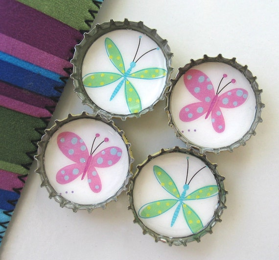 Up-Cycled Bottlecap Magnets- Green and Purple Butterflies with Striped Gift Pouch- Set of 4- Recycled and Eco-Friendly