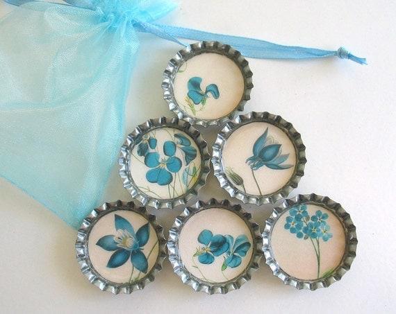 Blue Forget-Me-Not Flowers- Bottlecap Magnets with Blue Organza Bag- Set of 6