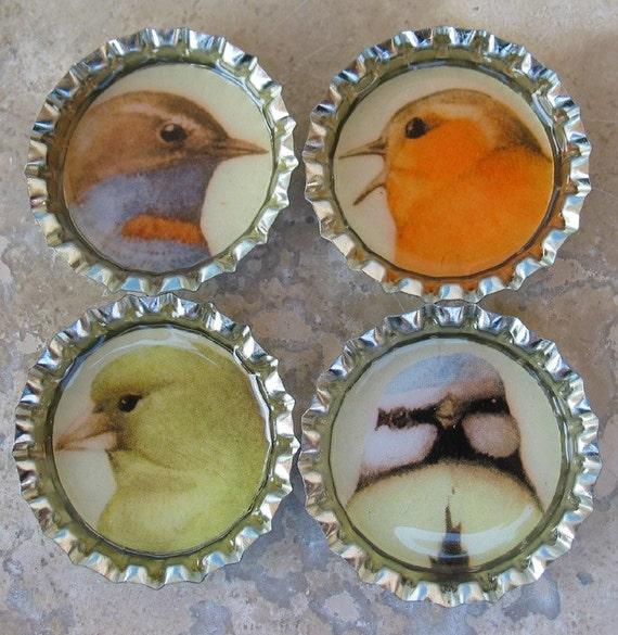 4 Bird Bottle Cap Magnets with Organza Bag