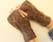 Chocolate Brown Gold Shades Fingerless Gloves Mittens